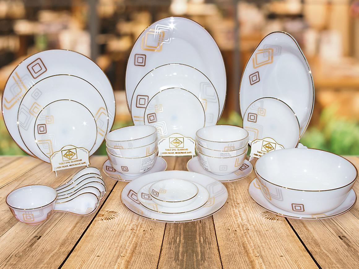 Bộ bát đĩa 28 chi tiết Thủy Tinh Ngọc Opal hoa vuông
