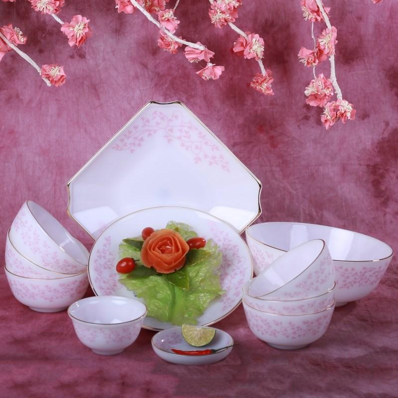 Bộ bát đĩa 11 chi tiết hoa dây hồng